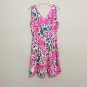 Lilly Pulitzer Parrot Print Fit And Flare Dress